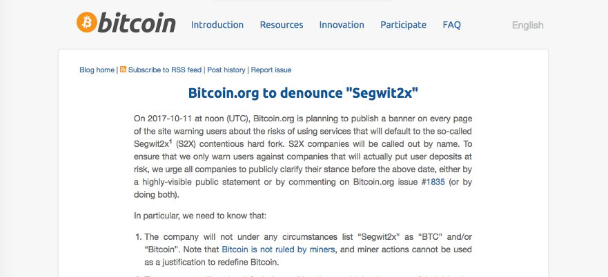 Bitcoin.org hits out at SegWit2X supporters