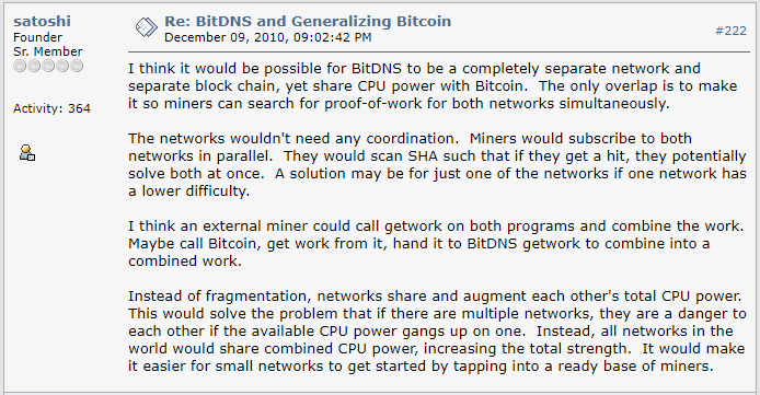 Did Satoshi Nakamoto want Side-chains for Bitcoin?