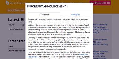 BlockExplorer recognizes Bitcoin Cash as Bitcoin