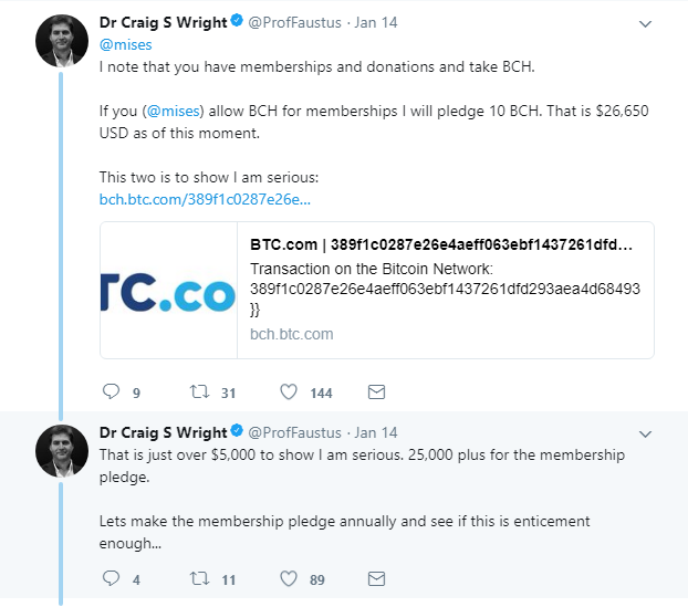 "Dr Craig Wright makes pledge to donate millions to ""make the world I am in better""."