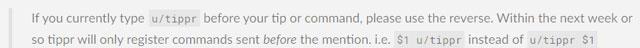 Tippr bot tweaks command syntax