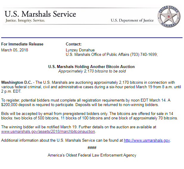 US Marshals to auction off 2.170 'dirty' BTC