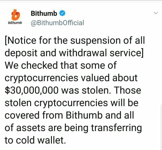 Bithumb hacked, $30 million reportedly lost to thieves