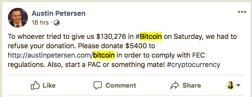 US Senate candidate returns $130,000 worth of BTC donation