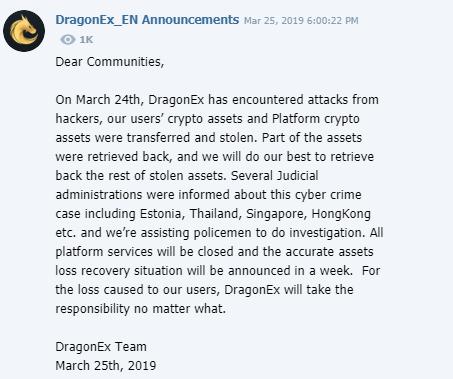DragonEx exchange shuts down, confirms it's been hacked