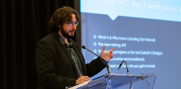 比特币 SV 节点开发人员布拉德·克里斯滕森在 2019年CoinGeek多伦多会议上讨论扩容