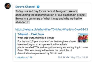 telegram中文社区可能将重启ton