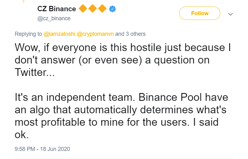 Changpeng Zhao, CEO of Binance, was forced to admit this on Twitter a few weeks ago: