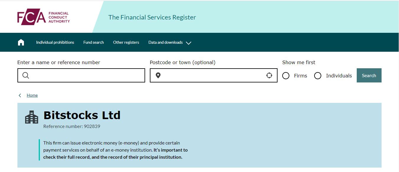 FCA Register Bitstocks