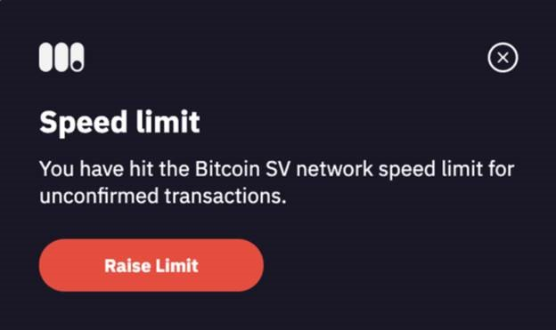 Speed limit Bitcoin SV network