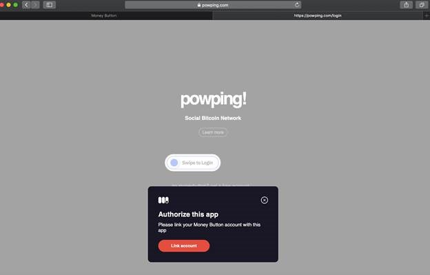 Screenshot on how to create a PowPing Wallet
