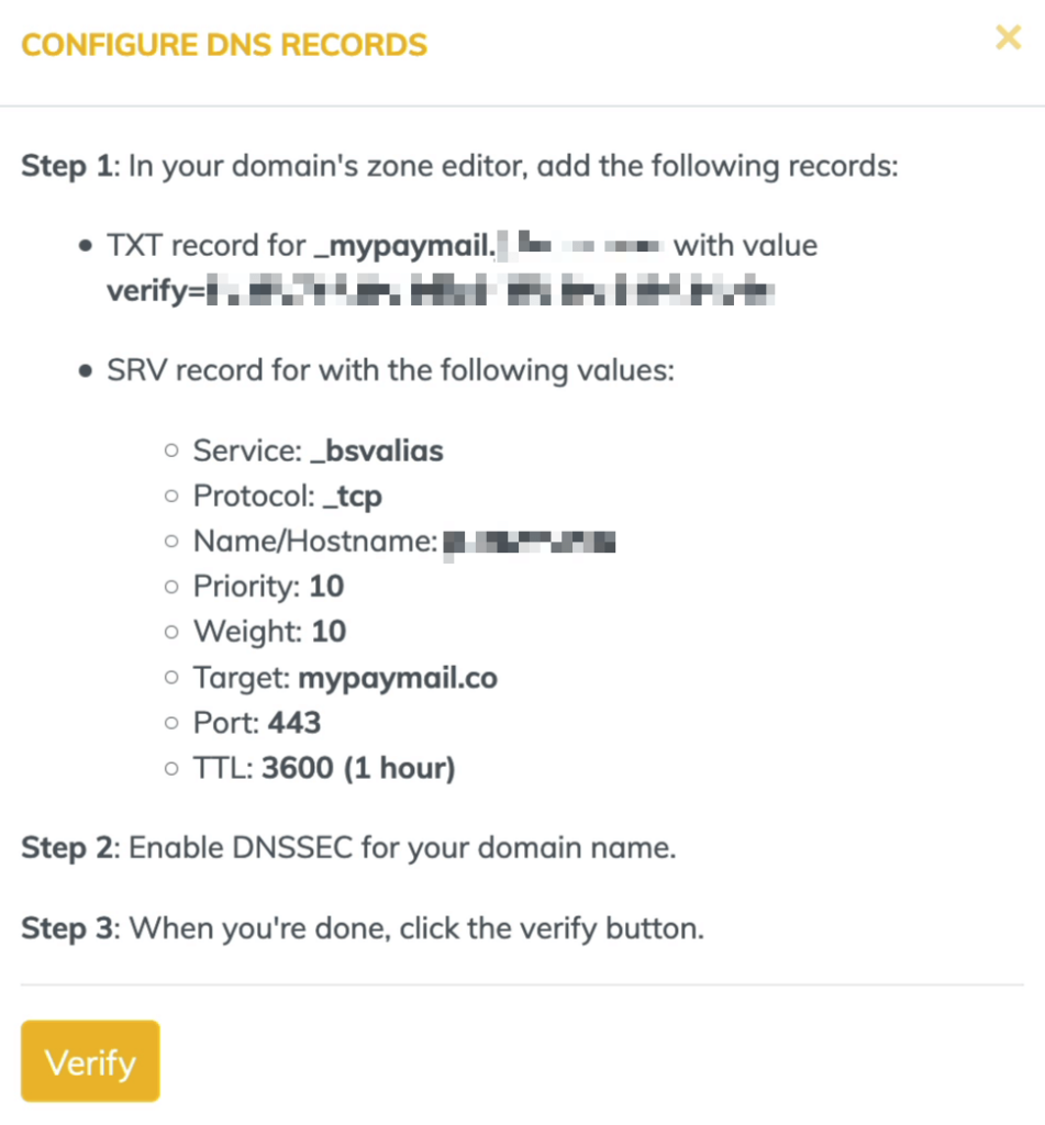 Mypaymail Steps