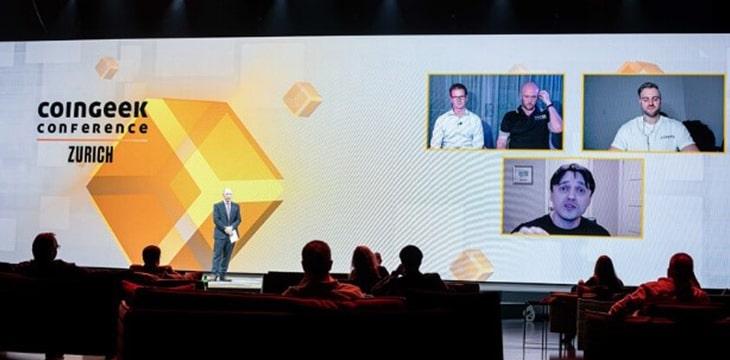 Panelistas de CoinGeek Zurich 2021: Bryan Daugherty, Seth Halloran, Aaron Jervis y Dean Little