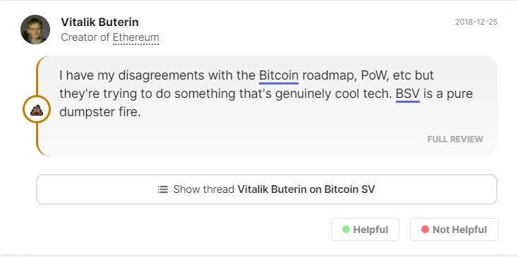 Vitalik Buterin comment on Bitcoin SV