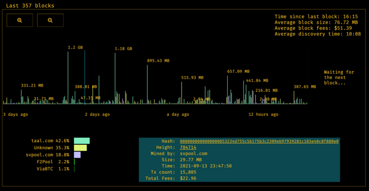 A visual representation of the last ~350 blocks mined on Bitcoin SV (at the time of writing - 9/15/21) (Source: BitcoinBlocks.live)